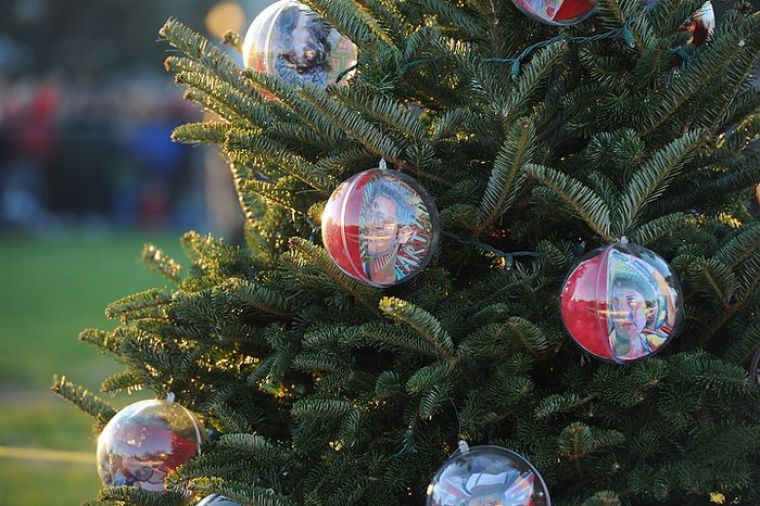 Creative ornaments hang from one of the Christmas trees during The National Christmas Tree Lighting 2011 on The Elipse in Washington, DC,