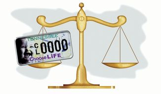 Illustration: License plate scales by Alexander Hunter for The Washington Times