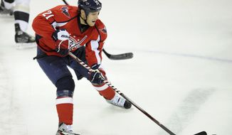 The Washington Capitals had 17 shots against the Pittsburgh Penguins on Thursday night. Center Brooks Laich had one of them. (AP Photo/Nick Wass)
