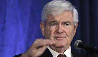 ** FILE ** Republican presidential candidate Newt Gingrich speaks in West Des Moines, Iowa, on Tuesday, Dec. 1, 2011. (AP Photo/Charlie Neibergall, File)
