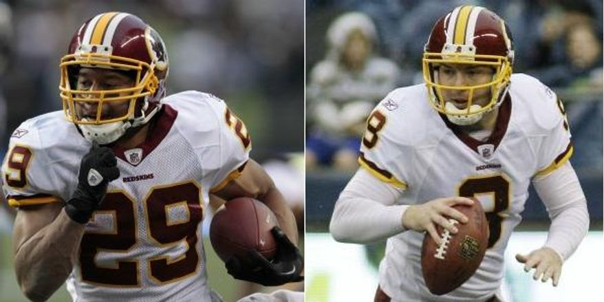 Roy Helu and Rex Grossman have provided a spark to the Washington Redskins' offense. Helu had a breakout game last week against the Seattle Seahawks, rushing for 108 yards and a touchdown. Grossman has thrown for over 600 yards --- with four touchdowns and three interceptions --- over his last two games. (Associated Press)