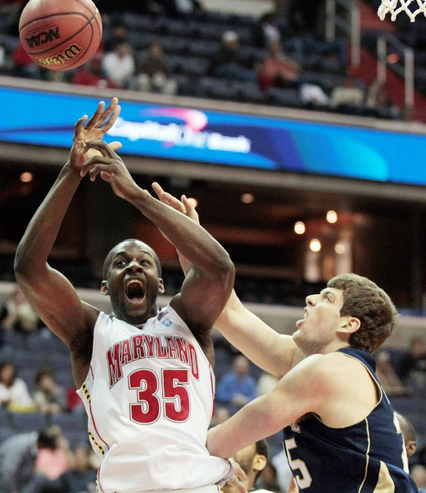 Maryland's James Padgett's double-double (11 points, 10 rebounds) helped the Terrapins defeat Notre Dame. (Associated Press)