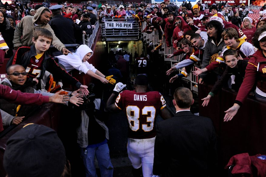 Tight end Fred Davis walks off the field Sunday for likely the last time this season, as he is facing a four-game suspension. (Preston Keres/Special to The Washington Times)