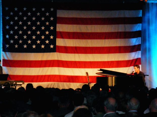 Christian contemporary singer Michael W. Smith performs at Sean Hannity's Holiday Concert Salute to the Troops fundraiser on Capitol Hill on Saturday night. (Trish Keene)
