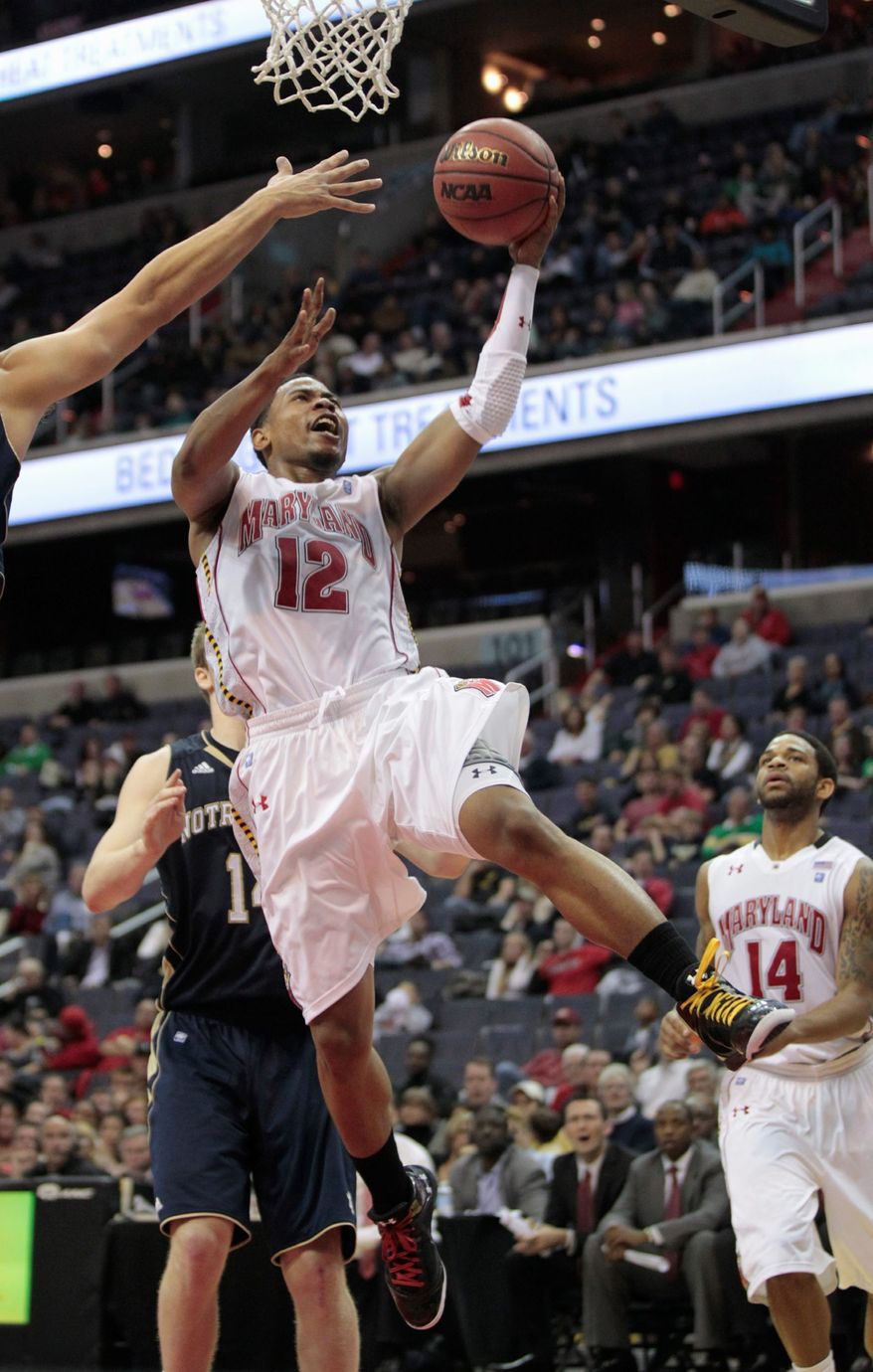 Maryland's Terrell Stoglin shoots the ball during first half against Notre Dame at the BB&T Classic in Washington, Sunday, Dec. 4, 2011. Maryland won 78-71, and Stoglin had 31 points. (AP Photo/Luis M. Alvarez)