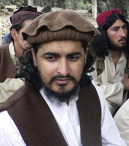 ** FILE ** Pakistani Taliban chief Hakimullah Mehsud is pictured in Sararogha in the Pakistani tribal area of South Waziristan along the Afghanistan border in October 2009. (AP Photo/Ishtiaq Mehsud, File)