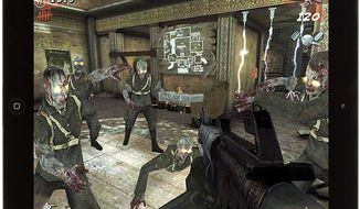 Undead Nazis attack in the iPad game Call of Duty: Black Ops Zombies.