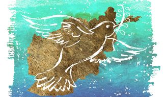 Illustration: Afghan dove by Greg Groesch for The Washington Times