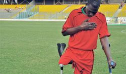 Sani Boubakar of Niger (above) prays and Richard Arthur Opentil of Ghana savors victory after Niger's team lost to Ghana's Black Challenge, which Opentil captains, at last week's 2011 Cup of African Nations for Amputee Football tournament in Ghana. Angola, Liberia, Nigeria and Sierra Leone also fielded teams, and Liberia won the cup. The competitions help players not only overcome their disabilities but also move beyond turbulence in their nations. (Clair MacDougall/Special to The Washington Times)