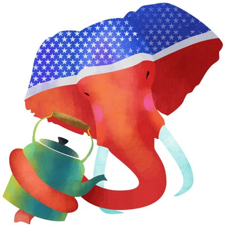 Illustration: GOP embrace of Tea Party by Linas Garsys for The Washington Times