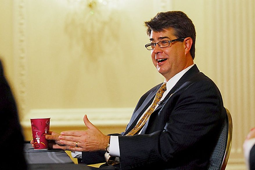 Rep. Lee Terry, Nebraska Republican, answers questions during an exclusive interview at The Washington Times in Washington, D.C., Tuesday, Dec. 6, 2011. (J.M. Eddins Jr./The Washington Times)