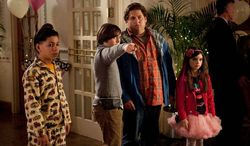 """Jonah Hill as Noah Griffith (second from right) still has some growing up to do in """"The Sitter."""" In the meantime, he's baby-sitting the characters played by Kevin Hernandez, Max Records, and Landry Bender. (20th Century Fox via Associated Press)"""