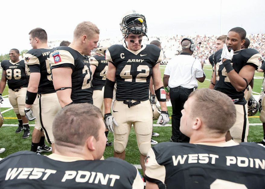 "'A LONG PROCESS' PAYS OFF: Andrew Rodriguez (42) was elected captain of the Black Knights for this season despite missing all of last year with a back injury. ""I took it as an honor,"" he said. ""I think they saw just how much playing football for Army meant to me."""