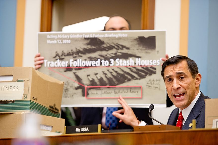 "Congressman Darrell Issa (R-Calif.) questions U.S. Attorney General Eric Holder while he appears before the House Judiciary Committee to answer questions about ""Fast and Furious"" a federal gun sting which allowed weapons to go to Mexican drug cartels through straw buyers, Thursday, December 8, 2011. (Andrew Harnik / The Washington Times)"