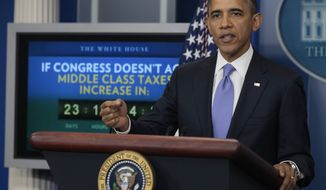 President Barack Obama speaks during a news conference in the White House briefing room in Washington, Thursday, Dec. 8, 2011. (AP Photo/Carolyn Kaster)