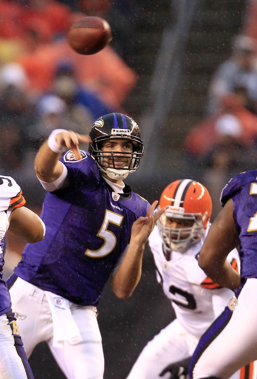 Baltimore Ravens quarterback Joe Flacco passes against the Cleveland Browns in the first quarter Sunday, Dec. 4, 2011, in Cleveland. (AP Photo/Tony Dejak)
