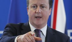 British Prime Minister David Cameron speaks during a media conference. (Associated Press File)