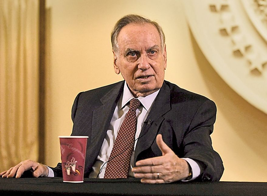 Zalman Shoval, former Israeli ambassador to the U.S., answers questions during an exclusive interview at The Washington Times in Washington, D.C., Friday, Dec. 9, 2011. (J.M. Eddins Jr./The Washington Times)