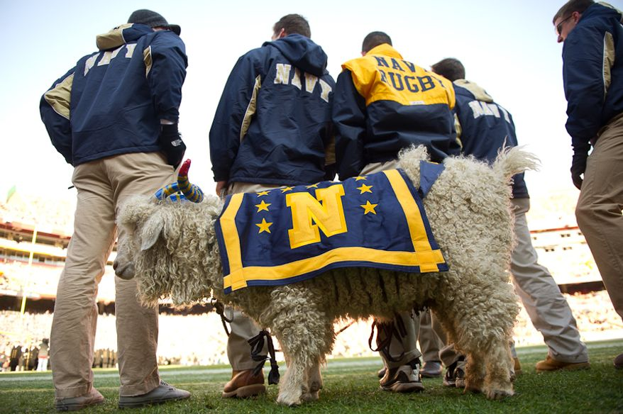 Navy's mascot Bill the Goat stands on the sideline before the start of the Army-Navy game at Fedex Field, Landover, MD, Saturday, December 10, 2011. (Andrew Harnik / The Washington Times)