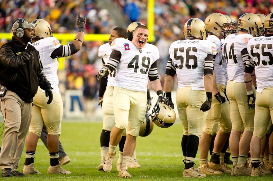 Army Black Knights linebacker Justin Schaaf (49) pumps himself up between plays in the first half of the Army-Navy game at Fedex Field, Landover, MD, Saturday, December 10, 2011. (Andrew Harnik / The Washington Times)