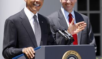 ** FILE ** President Obama introduces former Ohio Attorney General Richard Cordray as his nominee as the first director of the Consumer Financial Protection Bureau on July 18, 2011 at the White House. (Associated Press)