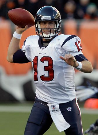 Houston Texans quarterback T.J. Yates (13) passes against the Cincinnati Bengals in the second half of an NFL football game on Sunday, Dec. 11, 2011, in Cincinnati. Houston won 20-19. (AP Photo/David Kohl)