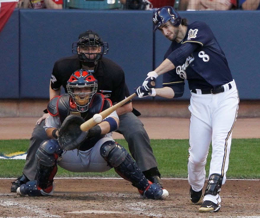Milwaukee outfielder Ryan Braun, the 2007 National League Rookie of the Year, was named MVP this season after hitting .312 with 33 home runs and 111 RBI. (Associated Press)