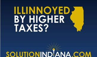 A billboard and digital ad campaign  in Indiana is encouraging employers unhappy with the business climate in Illinois to move to Indiana. (SOLUTIONINDIANA.COM)