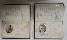 Fake passports used in the daring operation to capture Nazi SS officer Adolf Eichmann are displayed in the Knesset in Jerusalem on Monday, Dec. 12, 2012. The passport at right contains Eichmann's picture. (AP Photo/Sebastian Scheiner)