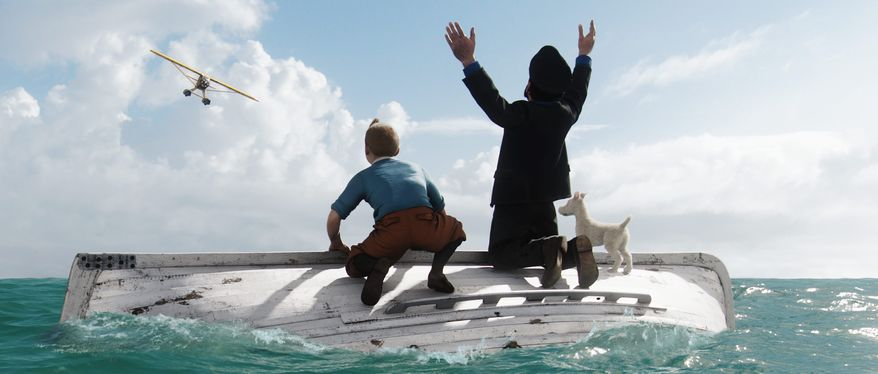 "Tintin (left), voiced by Jamie Bell, awaits rescue with Captain Haddock, voiced by Andy Serkis, and Tintin's dog Snowy in ""The Adventures of Tintin."" Comics about Tintin have been translated into 55 languages, but the hero is unknown to many Americans. (Paramount Pictures via Associated Press)"