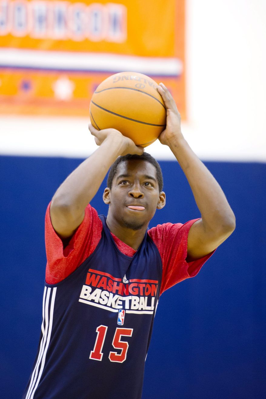 Washington Wizards guard Jordan Crawford practices during training camp at the Verizon Center, Tuesday, December 13, 2011. (Andrew Harnik / The Washington Times)