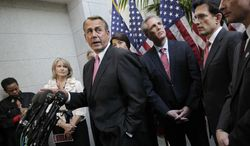 House Speaker John Boehner (center), Ohio Republican, and fellow Republican leaders meet Dec. 13, 2011, with reporters on Capitol Hill before a crucial vote on a GOP effort to renew an extension of the payroll-tax cut. From second from left are Rep. Renee Ellmers of North Carolina, House Ways and Means Committee Chairman Rep. Dave Camp of Michigan, Boehner, Rep. Cathy McMorris Rodgers of Washington, House Majority Whip Kevin McCarthy of California, House Majority Leader Eric Cantor of Virginia, and Rep. Jeb Hensarling of Texas. (Associated Press)