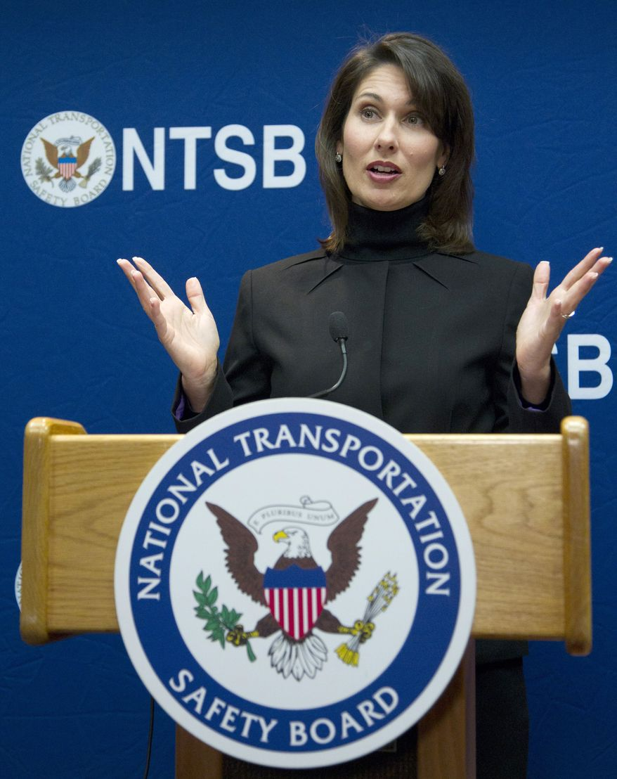 National Transportation Safety Board Chair Deborah Hersman speaks Dec. 13, 2011, during a news conference in Washington to discuss the board's recommendation to ban all cellphone and portable electronic device use by drivers except for emergencies. (Associated Press)