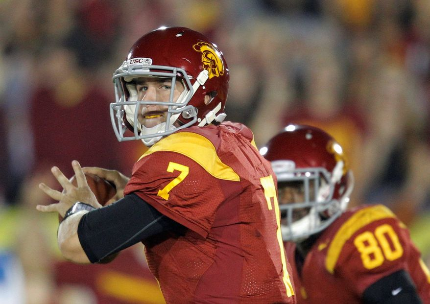 USC quarterback Matt Barkley has played his way into the conversation  for the top pick in April's NFL draft. (Associated Press)