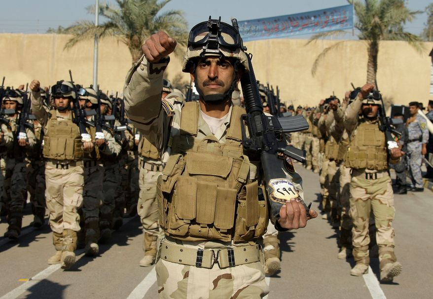Signs of American influence on the Iraqi military - including U.S.-made M-16 assault rifles - are unmistakable. Years of training hopefully have given them the skills needed to defend their country and the professionalism to do it differently than Saddam Hussein's forces did. (Associated Press)