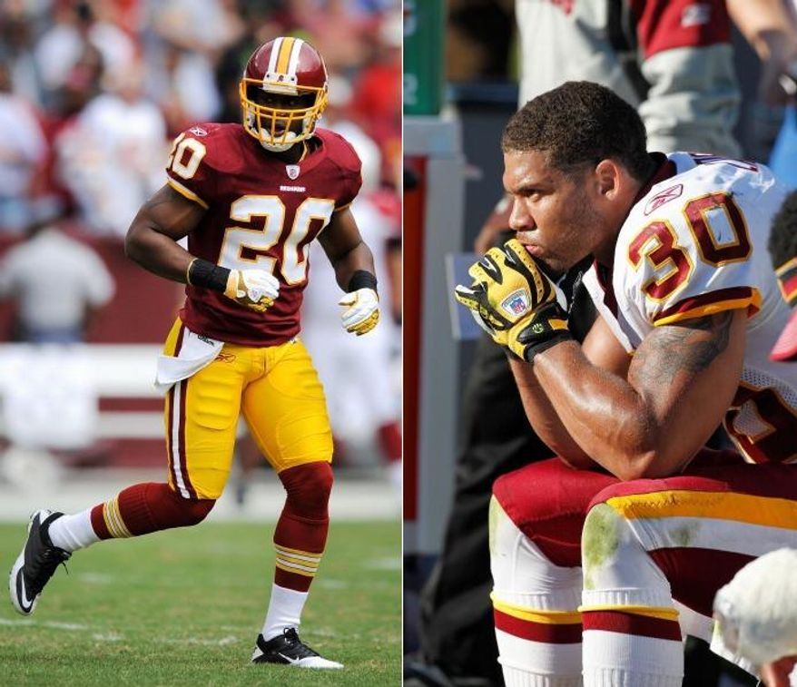 Redskins strong safety LaRon Landry has been placed on injured reserve because of a left Achilles tendon injury, while free safety Oshiomogho Atogwe (left) has been knocked out of the starting lineup because of various leg injuries. (Associated Press)