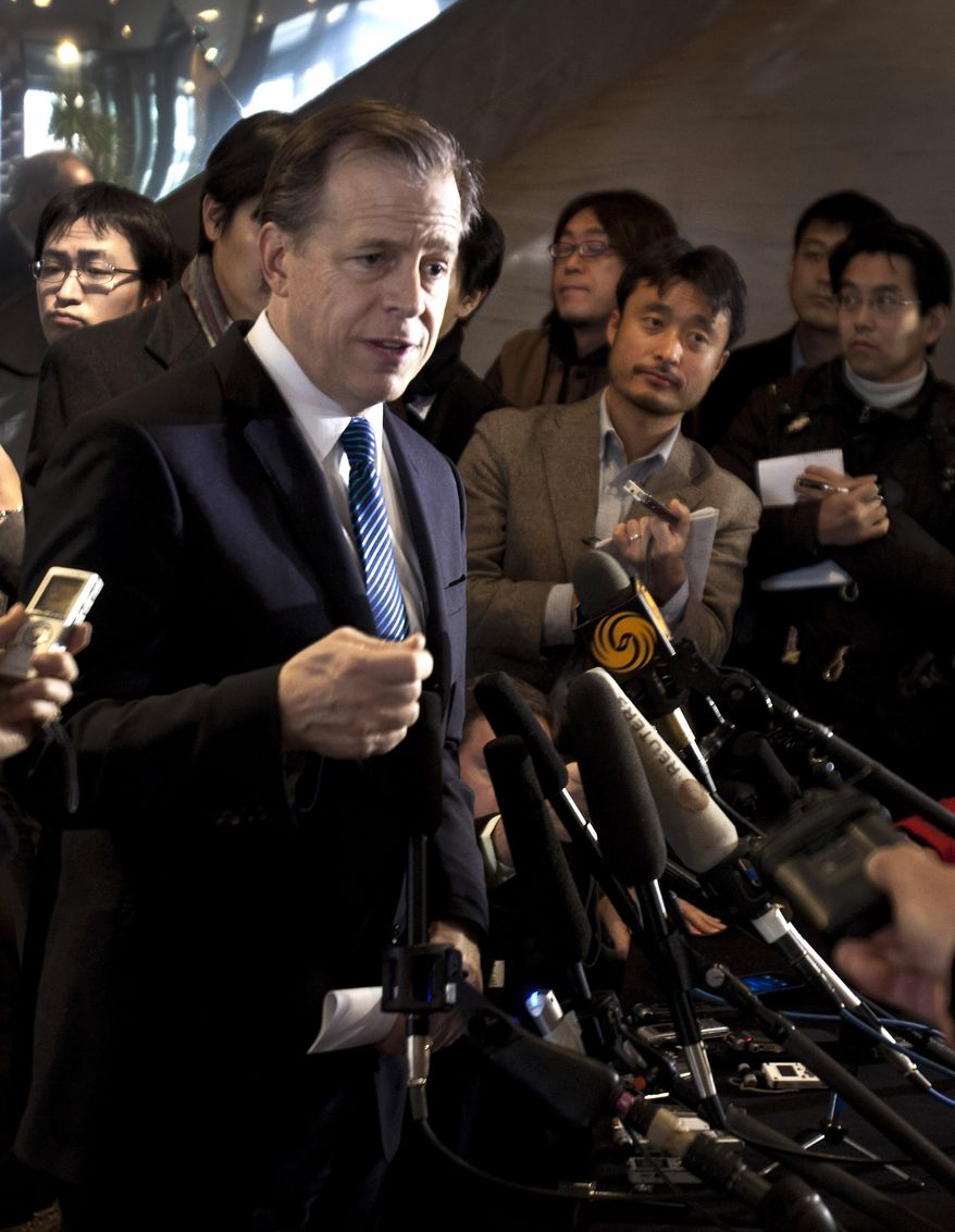 ** FILE ** Glyn Davies, the U.S. special representative for North Korea affairs, speaks to journalists at a hotel after he met with Chinese officials in Beijing on Thursday, Dec. 15, 2011. (AP Photo/Andy Wong)