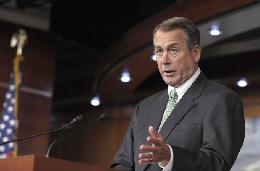 House Speaker John A. Boehner, Ohio Republican, speaks during a news conference on Capitol Hill in Washington on Thursday, Dec. 15, 2011. (AP Photo)