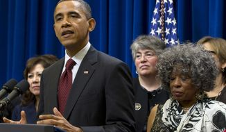 President Obama speaks in the Eisenhower Executive Office Building on the campus in Washington on Dec. 15, 2011, where he announced action to provide minimum wage and overtime protections for in-home care workers. (Associated Press)