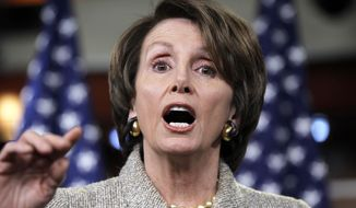 """House Minority Leader Nancy Pelosi, California Democrat, criticizes Republicans as being responsible for a """"do-nothing Congress"""" during a news conference on Friday, Dec. 16, 2011, on Capitol Hill in Washington. (Associated Press)"""