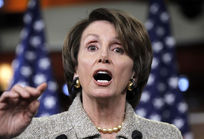 "House Minority Leader Nancy Pelosi, California Democrat, criticizes Republicans as being responsible for a ""do-nothing Congress"" during a news conference on Friday, Dec. 16, 2011, on Capitol Hill in Washington. (Associated Press)"