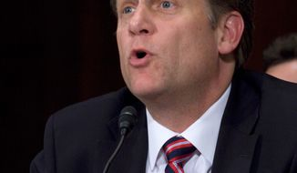 **FILE** Michael McFaul testifies on Oct. 12, 2011, on Capitol Hill in Washington before the Senate Foreign Relations Committee on his nomination as U.S. ambassador to Moscow. (Associated Press)