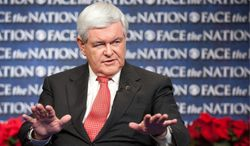 """In this Sunday, Dec. 18, 2011, photo provided by CBS News, Republican presidential candidate and former House Speaker Newt Gingrich appears on CBS's """"Face the Nation"""" in Washington. Gingrich continued to level harsh attacks on the judicial branch Sunday, saying as president he would consider dispatching U.S. marshals to force judges to appear before Congress to explain controversial decisions. (AP Photo/CBS News, Chris Usher)"""
