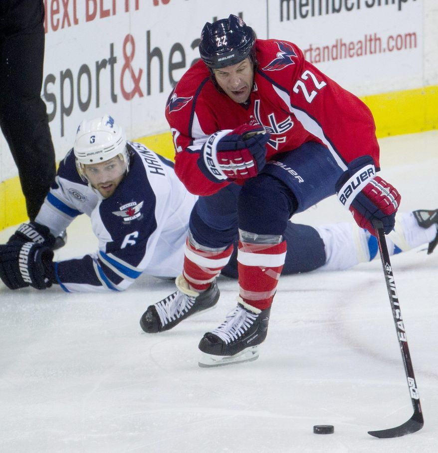 Washington Capitals veteran forward Mike Knuble was a healthy scratch on Thursday against the Winnipeg Jets. It was the first time he's been scratched for performance reasons since the 2002-03 season. (Associated Press)