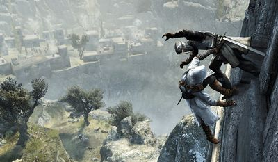 Legendary Syrian assassin Altair takes care of a Crusader in the video game Assassin's Creed Revelations.