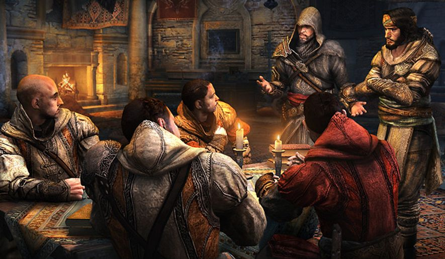 The hooded Ezio Auditore da Firenze talks with his fellow killing machines in the video game Assassin's Creed Revelations.
