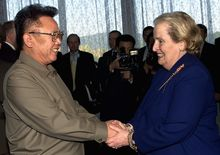 ** FILE ** North Korean leader Kim Jong-il (left) shakes hands with U.S. Secretary of State Madeleine K. Albright at the Pae Kha Hawon Guest House in Pyongyang, North Korea, on Oct. 23, 2000. (AP Photo/David Guttenfelder, Pool)