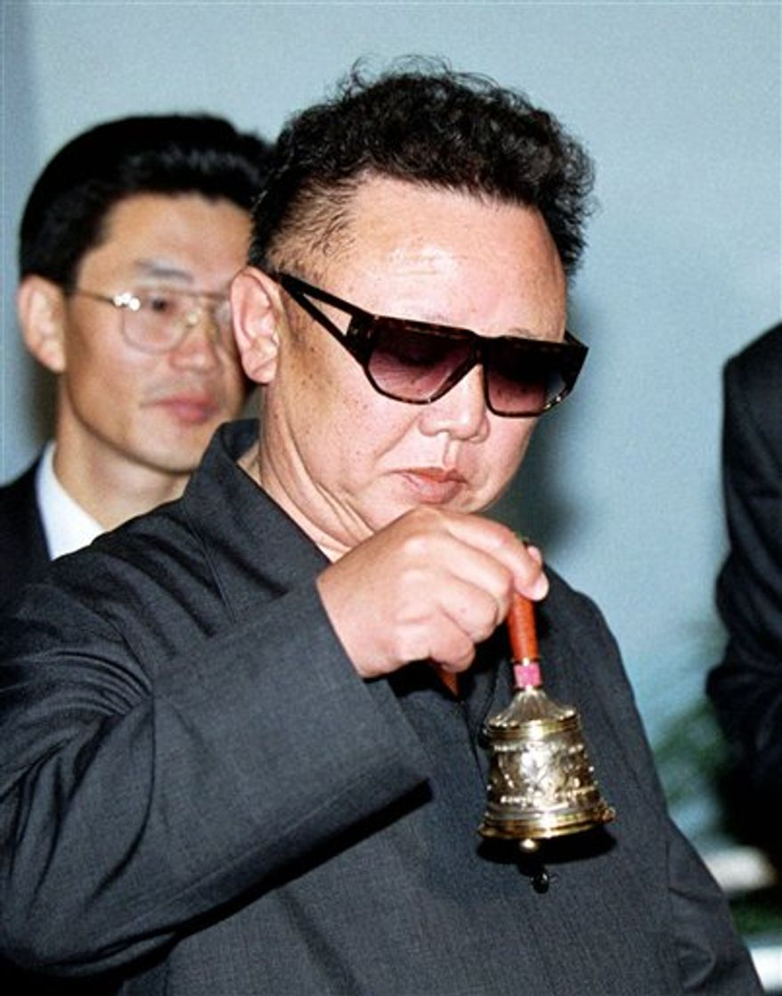 ** FILE ** In this July 26, 2001, photo, North Korean leader Kim Jong-il rings a bell that was presented to him at the Khasan railway station. (AP Photo/Igor Kochetkov, File)