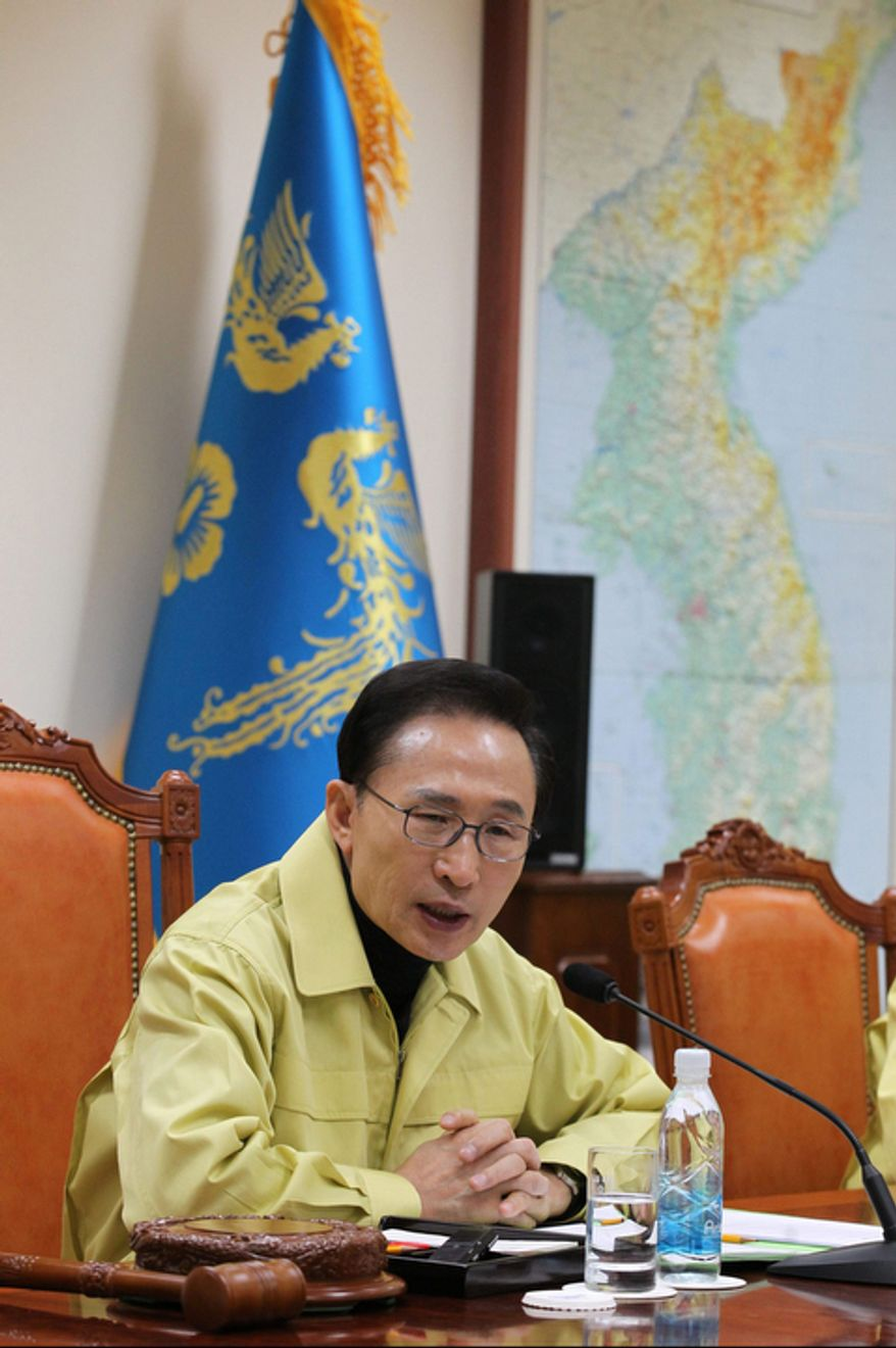 South Korean President Lee Myung-bak speaks at the Blue House in Seoul on Monday, Dec. 19, 2011, during an emergency meeting of the National Security Council over North Korean leader Kim Jong-il's death. (AP Photo/Yonhap)
