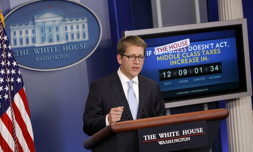 White House press secretary Jay Carney speaks during his daily briefing on Monday, Dec. 19, 2011, in the White House's Brady Briefing Room in Washington. (AP Photo/Haraz N. Ghanbari)